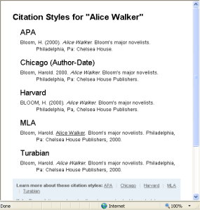 Different citation formats